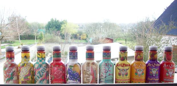 collection de bouteilles arizona complète